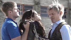 The Archer #2 - Michael Grant Terry as Michael Patrice, Jeanine Mason as Rebecca Rolinski, and Bill Sage as Warden Bob Patrice