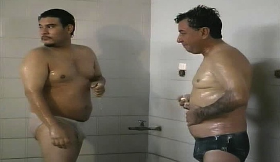 Celda #27 - Coy Mexican prisoners shower in their underwear, moments before the bloke on the left gets stabbed by someone who appears to be a guard