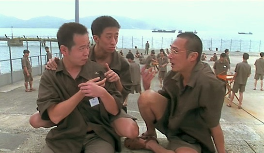 Chinese Midnight Express II - Chicken (with raven), Reddie (Samuel Leung), and Chan Siu Hong (Francis Ng). Doesn't seem all that secure, does it?