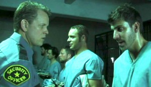 Dead Men Walking #2 - Happier days: Chriss Anglin as head guard Sweeney, Brick Firestone as Johnny, and Brandon Stacy as Travis Dee