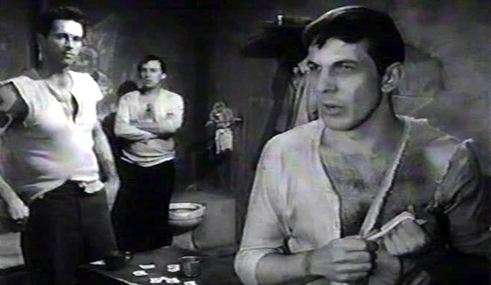 Deathwatch - in foreground, Leonard Nimoy as Jules Lefranc, with Michael Forest as Greeneyes and Paul Mazursky as Maurice at rear