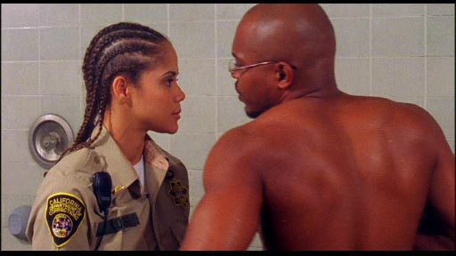 Doing Hard Time - Lt Elaine lodeg (Patrice Fisher) confronts a naked Eddie Mathematic (Sticky Fingaz) in the showers. It could have been worse. I could have shown you the next bit where she slaps him on the backside.