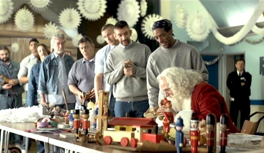 Get Santa - Jim Broadbent as Santa painting up a storm in prison