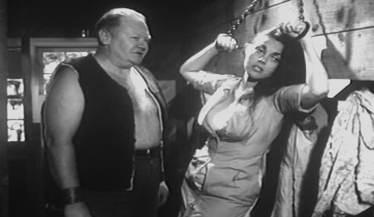 Girl on a Chain Gang - Earl Leake as the lascivious Clyde Fuller and Julie Ange as Jean Rollins