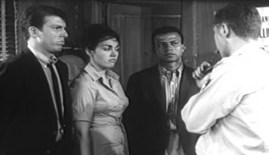 Girl on a Chain Gang #2 - Ron Segal as Ted Branch, Julie Ange as Jean Rollins, an uncredited actor as Artie Dixon, and William Watson as Sheriff Sonney Lew Wymer