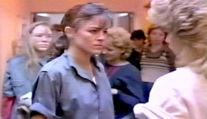 Jailbird Rock - Robin Antin as Jessie Harris. Valerie Gene Richards as Peggy Birch is behind her, and she is facing Rhonda Aldrich as Maxine (Max) Farmer