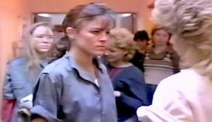 Jailbird Rock - Robin Antin as Jessie Harris. Valerie Gene Richards as Peggy Birch is behind her, and she is facing Rhonda Aldrich as Maxine (Max) Farmer