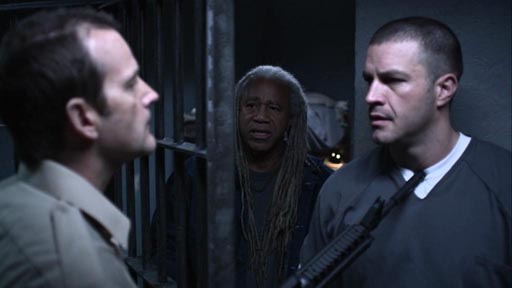 Locked Down - Dwier Brown as Kirkman, Dave Fennoy as Irving, and Tony Schiena as Danny