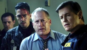 Maximum Conviction #3 - from right, Michael Paré as Chris Blake and Ian Robison as Warden Samuels