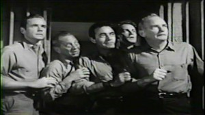 My Six Convicts #3 - Marshall Thompson as Scott, Jay Adler as Kopak, Gilbert Roalnd as Pinero, Alf Kjellin as Randall and Millard Mitchell as Connie.