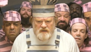 Paddington 2 #5 - Brendan Gleeson as Knuckles McGinty, flanked by x as Spoon and y as Phibs