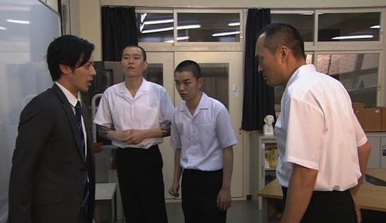 A School Behind Bars - Joe Odagiri as teacher Jupei Ishikawn, Seiji Chihara as Zentaro Oyamada, Shota Sometani as Shuichi Tanaka, and Ken Watanabe as Kibo Kawada