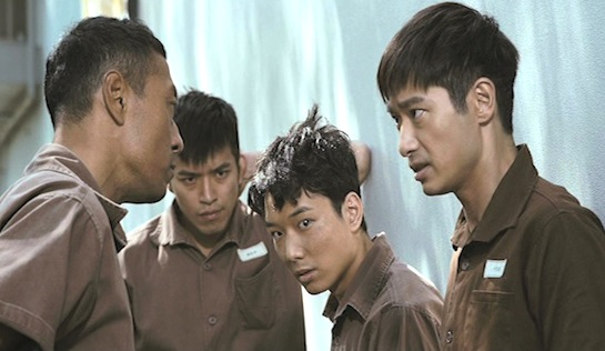 Imprisoned: Survival Guide for the Rich and Prodigal - Philip Keung as Wolfy (left), Babyjohn Choi as Roach (second from right) and Gregory Wong as Nelson Yu (at right)