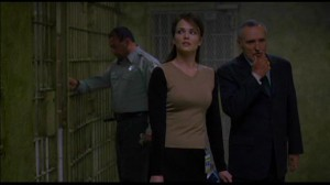 Unspeakable #3 - Dina Meyer as Dr Diana Purlow and Dennis Hopper as Warden Blakely