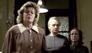 House of Whipcord #3 - Barbara Markham as Governess Margaret Wakehurst, Sheila Keith as officer Walker and Dorothy Gordon as officer Bates